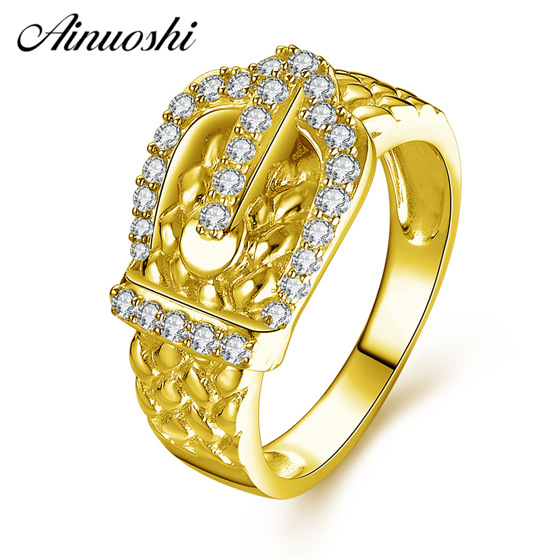 AINUOSHI 10K Solid Yellow Gold Cluster Ring Shinning CZ Buckle Weaving Ring Luxury Bridal Band Engagement Jewelry for Woman GirlAINUOSHI 10K Solid Yellow Gold Cluster Ring Shinning CZ Buckle Weaving Ring Luxury Bridal Band Engagement Jewelry for Woman Girl