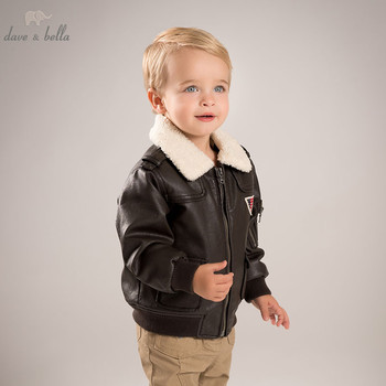 DB5970 dave bella autumn infant baby boys fashion PU Jackets kids toddler dark brown cool coats children hight quality clothes