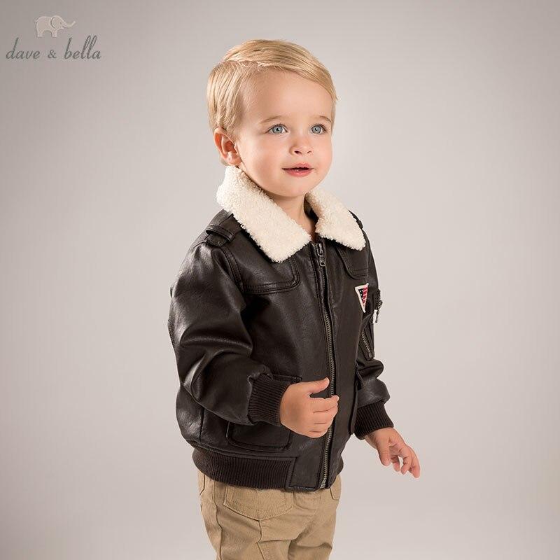 DB5970 dave bella outono bebê infantil meninos moda Jaquetas PU miúdos criança marrom escuro fresco casacos crianças roupas de altíssima qualidade