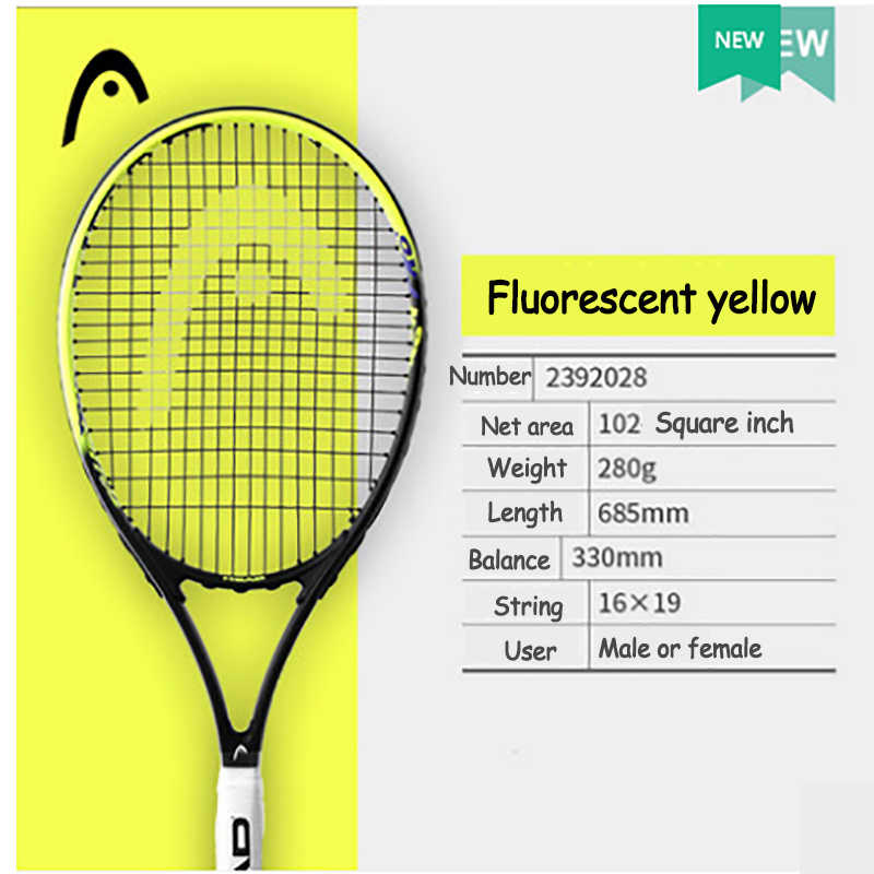 HEAD Professional Tennis Racket Single Adult Carbon Paddle Universal Beginner Training Carbon Aluminum Alloy Sports Racquet