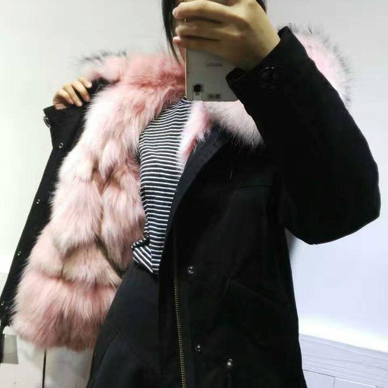 Fourrure Renard Laveur Noir Raton Longs Veste D'hiver Lumière Cheveux Parka Rose De q1Ft4FTU
