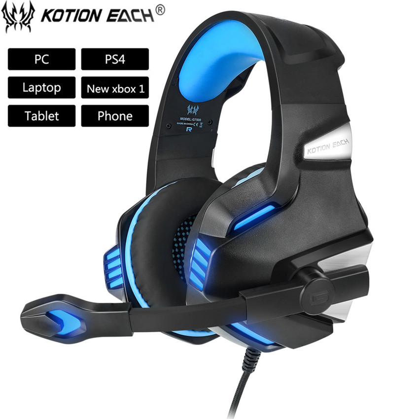 KOTION EACH G7500 Gaming Headset Headphone with Led Microphone Bass Headphones for New Xbox One PS4 Laptop Phone PC Gamer Casque