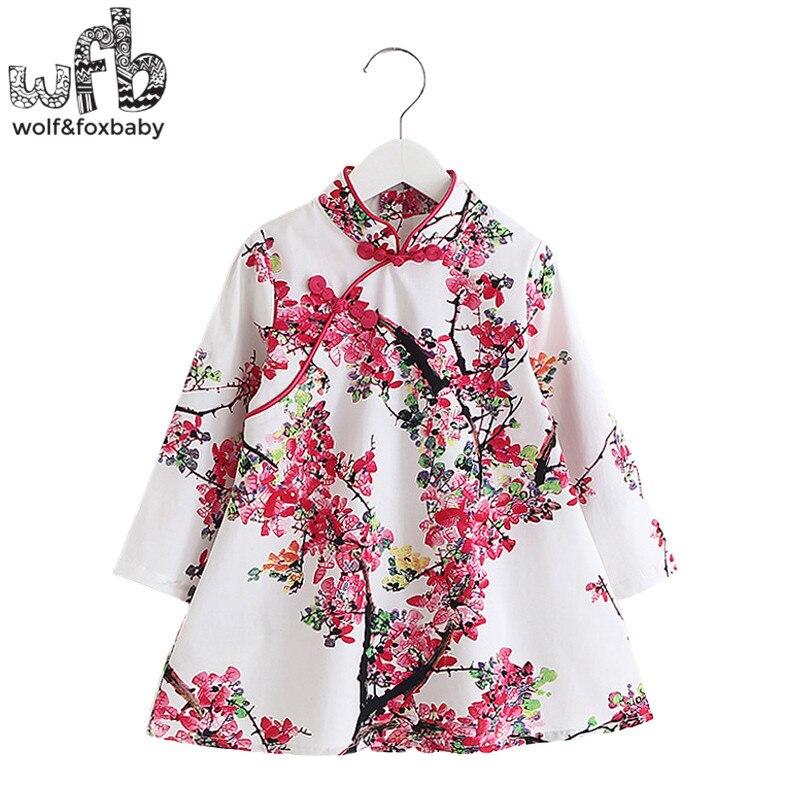 Retail 2-8 years children's girls long-sleeves cheongsam dress spring autumn fall summer printing retail 2018 spring autumn new girls