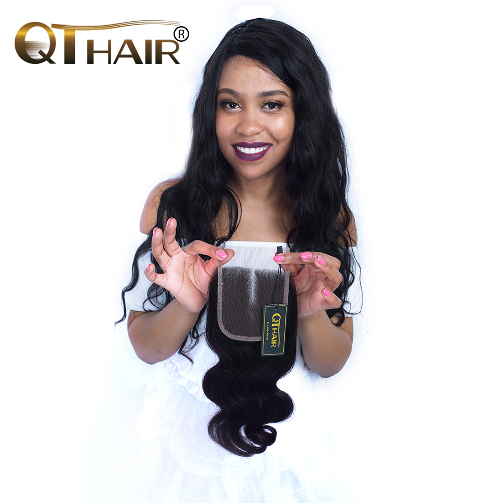 QThair 4*4 Middle Part Malaysian Body Wave Lace Closure 120% Density Remy Human Hair 8-20 Inch