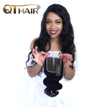 4 4 Pure Hand Tied Swiss Lace Malaysian Body Wave Closure Middle Part 120 Density 8
