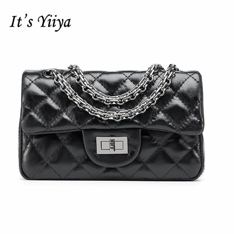 It's YiiYa New Black Silver Genuine Leather Lady Style Women HandBag Diamond Lattice Chains Girls Messenger Bags DDY028 карабин black diamond black diamond rocklock twistlock
