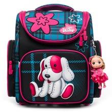 Delune 2019 Children Orthopedic Backpacks For Girls Boys Dog Pattern School Bags Waterproof Backpack mochila escolar Grade 1-3 цены онлайн