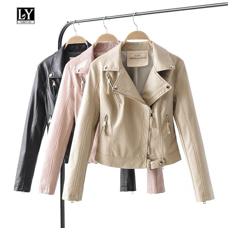Ly Varey Lin Autumn Women Faux Soft   Leather   Jacket Coat Pu Motorcycle Slim Black Rivet Zipper Pink Punk Lady   Leather   Jacket Coat