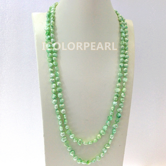 120CM  Long 7-8mm Light Green Real Cultured Freshwater Pearl Sweater Jewelry Sweater Necklace.