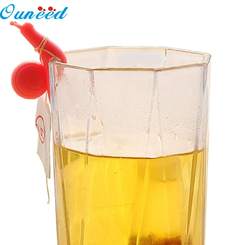 цена на Ouneed Happy Home 5pcs Lovely Fruit Color Support Scroll Silicone Cup Of Tea Bags
