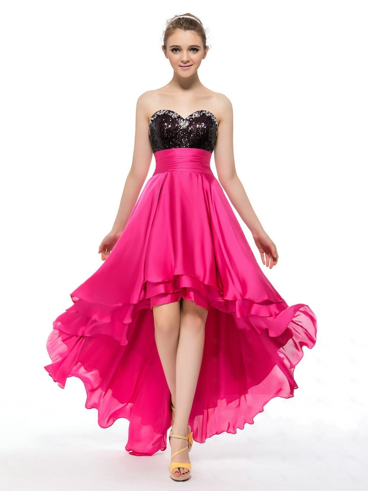 Front Short Long Back A Line Sweetheart High Low Fuchsia Chiffon   Prom     Dress   With Beaded Sequined Low Price Evening Party Gowns