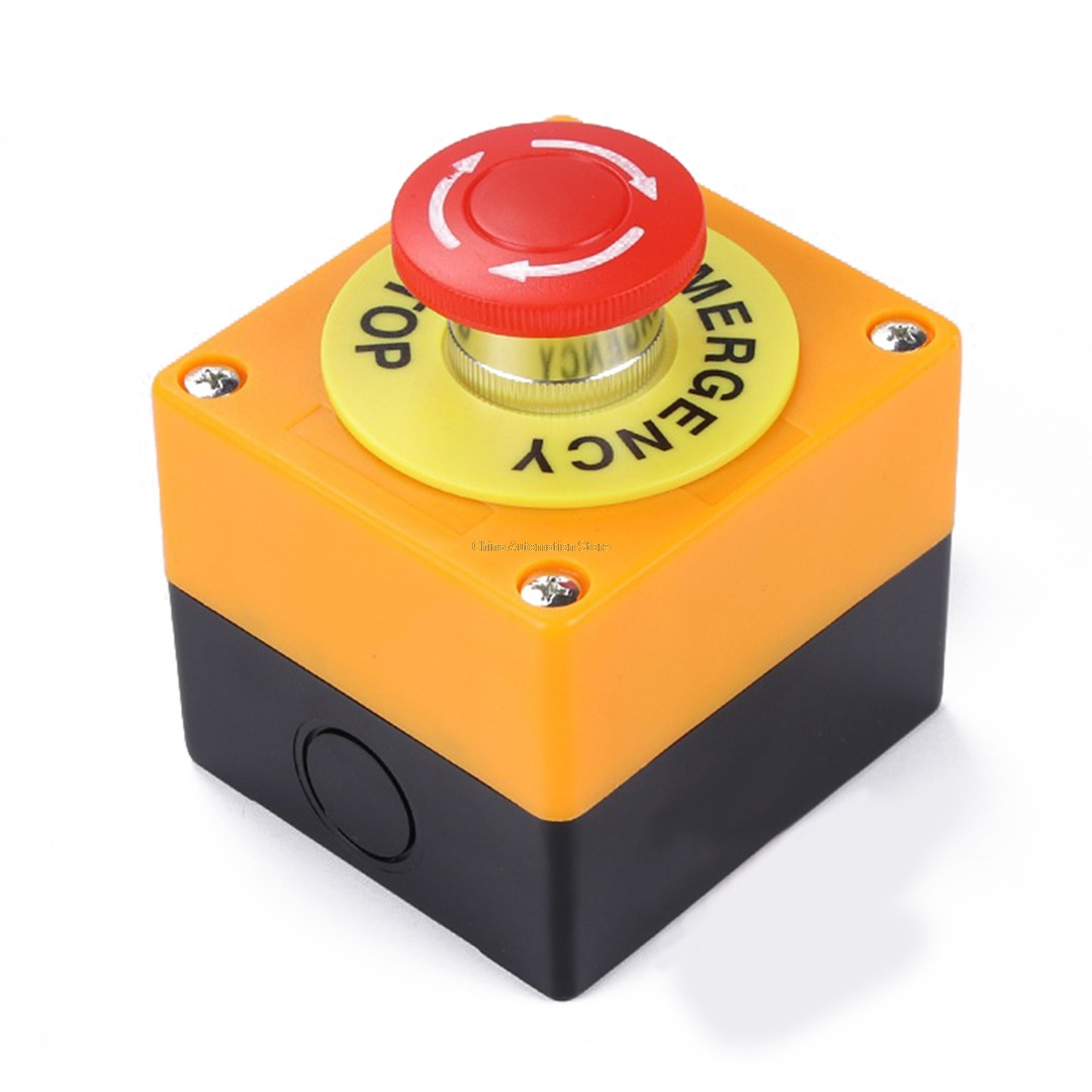 Red Sign Emergency Stop Mushroom Push Button Switch NO+NC AC660V/10A ignition momentary press push button switch protective cover ycz3 c emergency stop & start 5 pin on off red sign 10a 125v