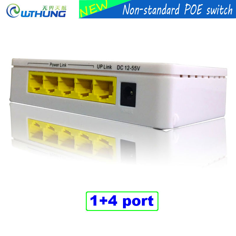 4Port IEEE802.3af 100M gigabit Power Over Ethernet Desktop Poe Switch  Input 12-55V output 60W Poe for CCTV security IP Camera