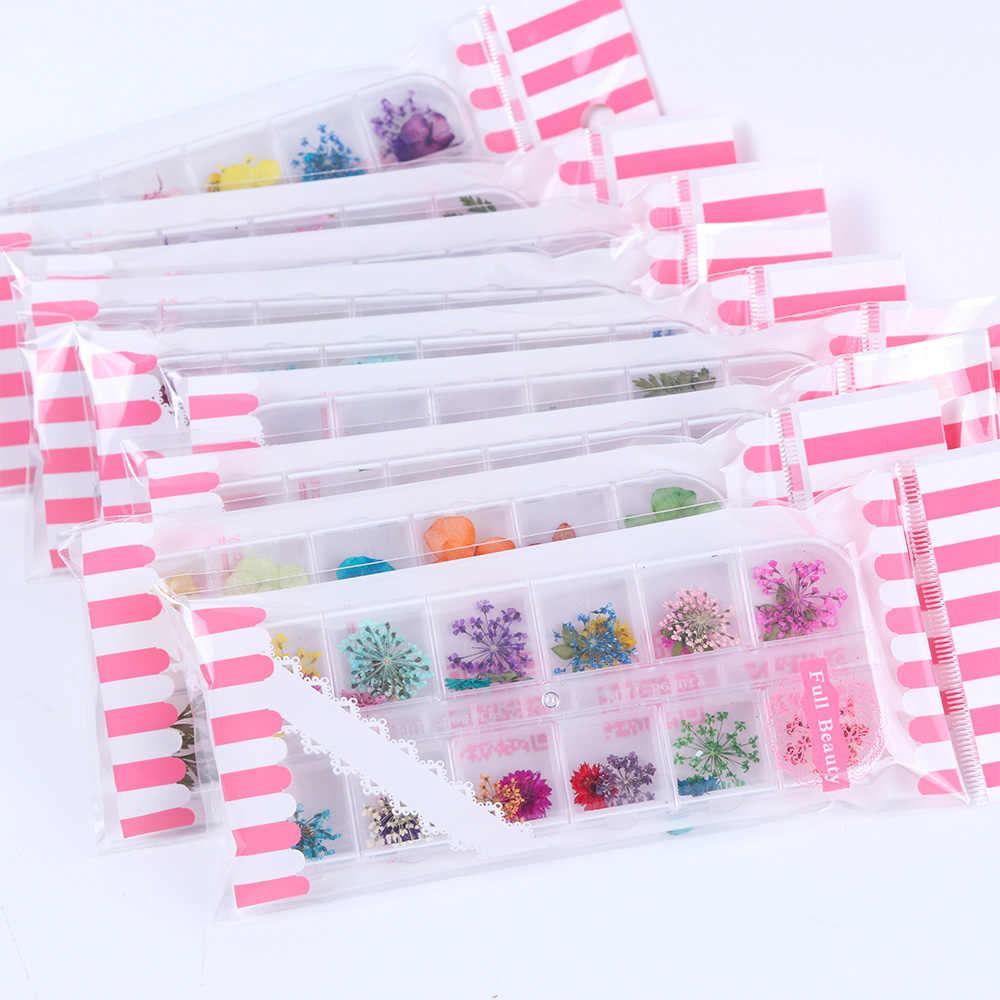 Campuran Bunga Kering Kuku Dekorasi Perhiasan Alami Floral Daun Stiker 3D Desain Nail Art Bahasa Polandia Manikur Aksesoris TRF01-10