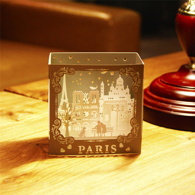 Fancy Laser Cut Paris 3D Pop Up Card