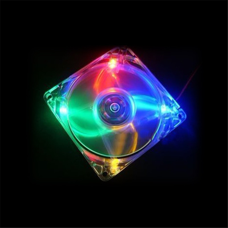 New Arrival Mini Quiet Clear Shell Colorful LED 4 Pin Connector Computer Desktop PC Case CPU Cooler Cooling Fan 80x80x25mm