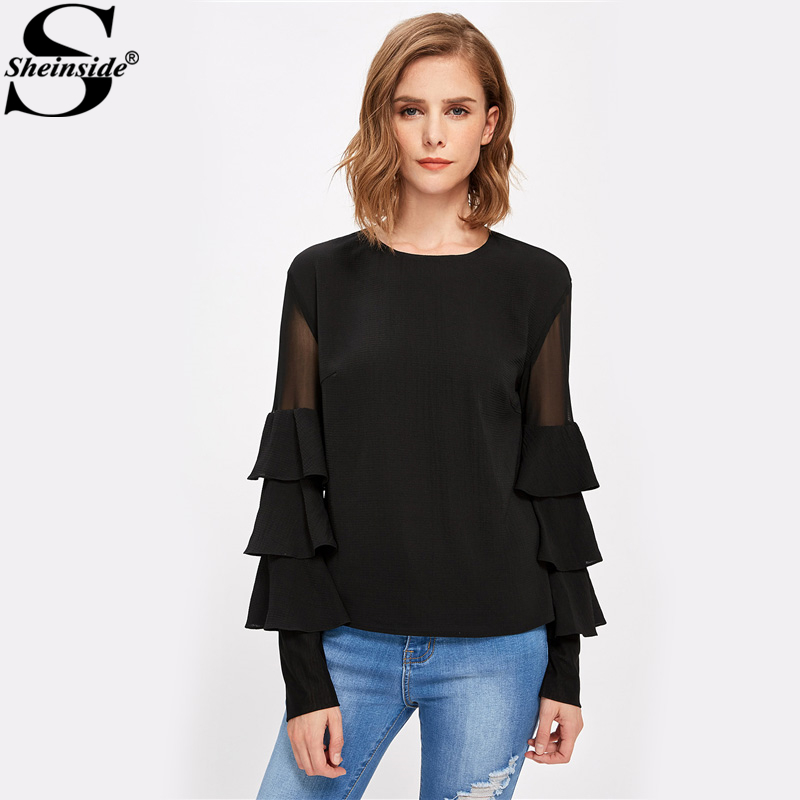 Sheinside Black Ruffle Long Sleeve Women Shirts Mesh