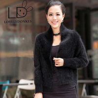 The Woman S Real Mink Cashmere Sweater Cardigan Short Sweater Coat Collar Solid Colored Shawl Free
