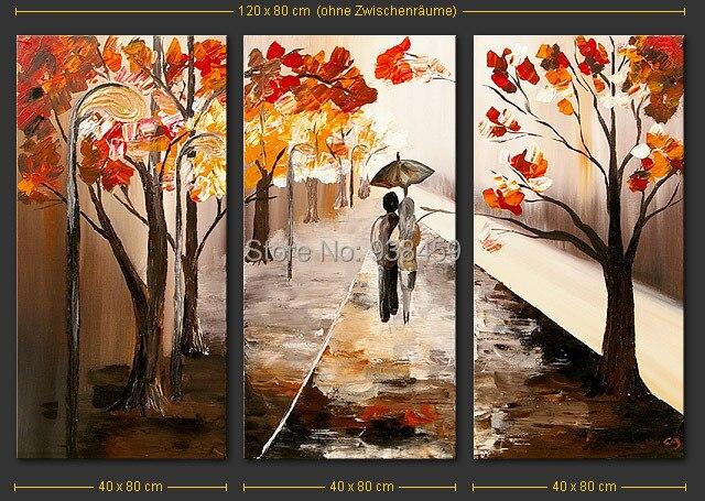Ev ve Bahçe'ten Resim ve Hat'de 100% el yapımı tuval duvar resimleri Sevgilisi Yürüyüş manzara Boyama 3 panel tuval sanat ev dekorasyon tuval boyama'da  Grup 2