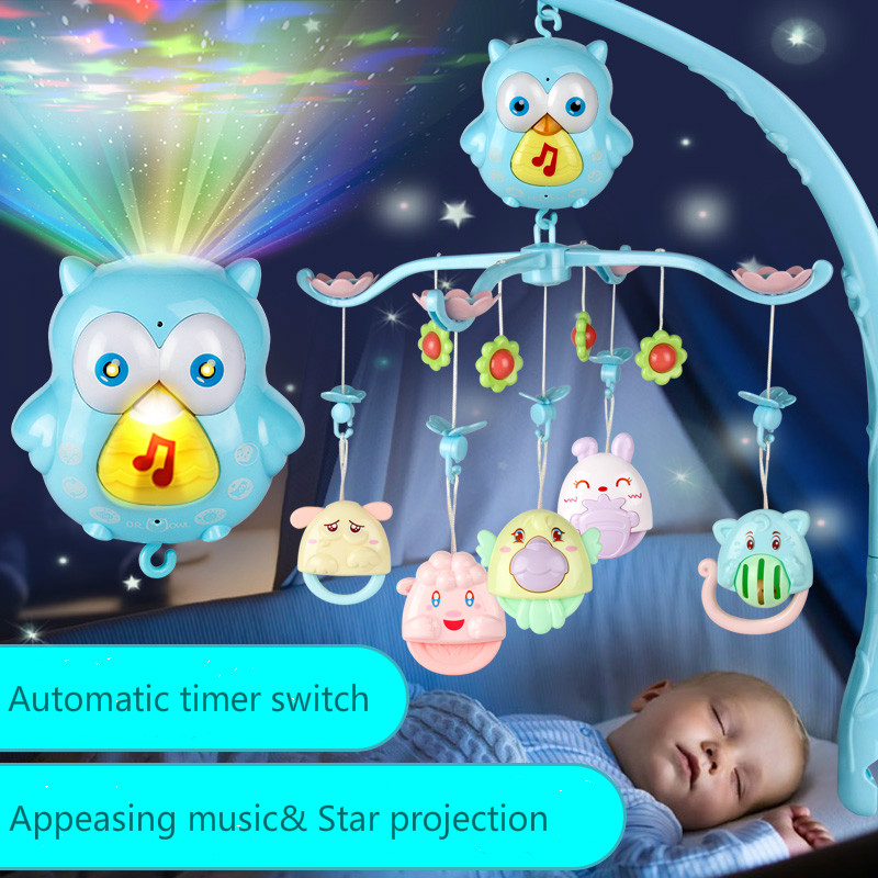New Baby Rattles Toy 0 12 Months Crib Mobile Musical Bed Bell With Sky Stars Rattles Projection Cartoon Early Learning Kids Toys