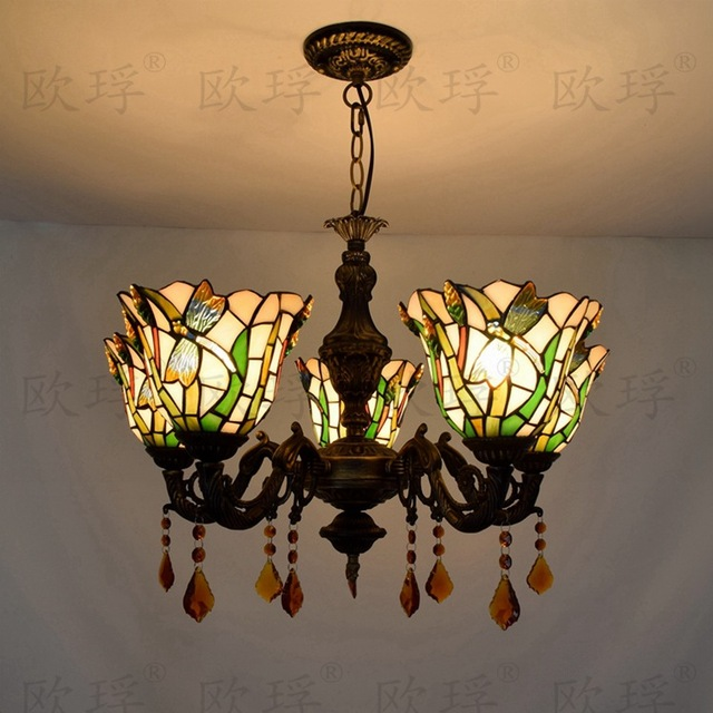 Tiffany Dragonfly Stained Glass Suspended Luminaire E27 110-240V Chain Pendant  lights for Home Parlor