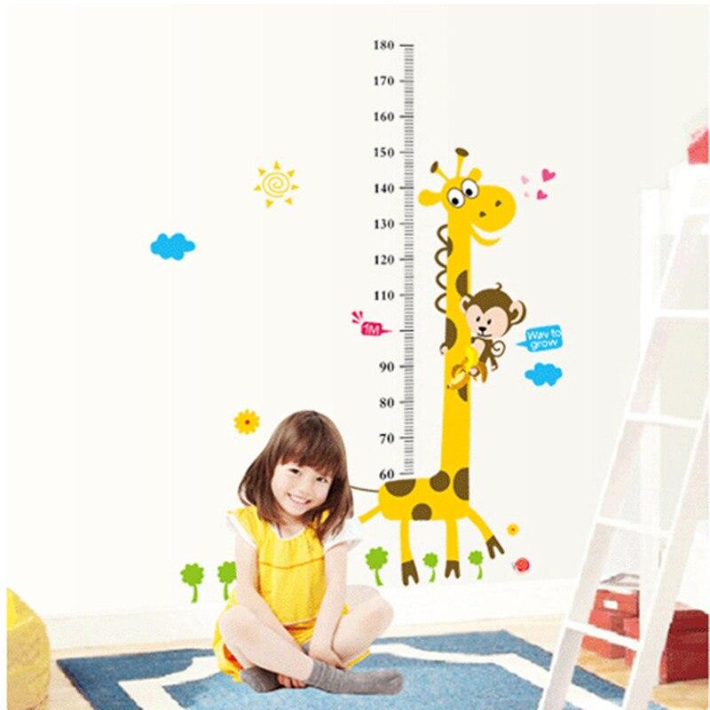 Fëmijët Lartësia Grafike Sticker Dekor Cartoon Giraffe Heil Ruler - Dekor në shtëpi - Foto 4