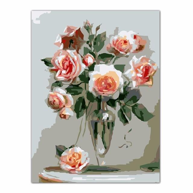 Rose Fleur Peinture A L Huile De Diy Par Numbers Acrylique Dessin
