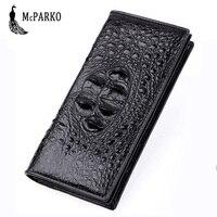 Изысканный крокодил кошелек Для мужчин из натуральной кожи длинный бумажник крокодиловой кожи люкс Двойные кошелек для Для мужчин моды муж