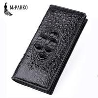 Exquisite Crocodile Wallet Men Genuine Leather Crocodile Skin Long Wallet Luxury Bifold Purse For Men Fashion Male Gift Black