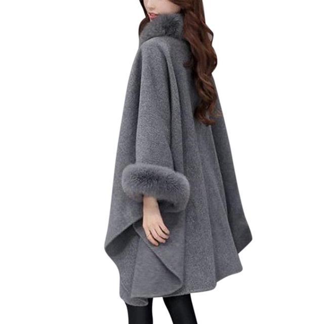 MISSKY femmes manteau de laine bouton unique hiver solide tricots de couleur châle Cape lâche manteau chaud manteau