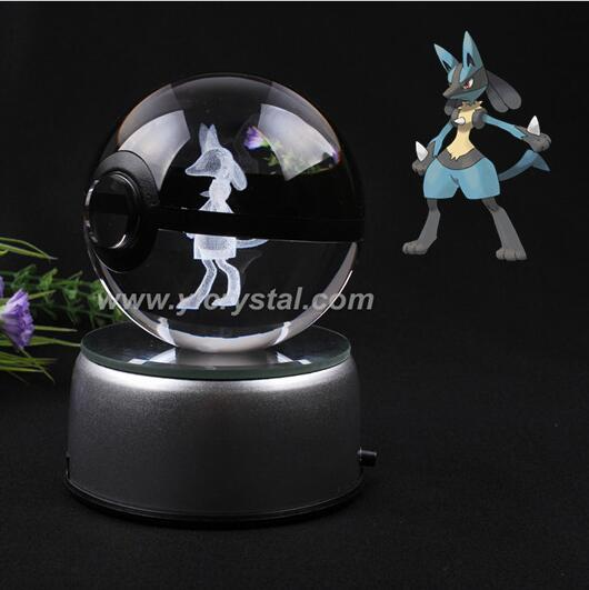 New Style Lacario Pokemon Ball With Engraving Crystal Ball For Gift With Gift Box