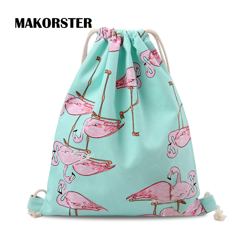 MAKORSTER Fashion Preppy Style Backpacks Canvas Flamingo bird Blue school Bags for Girls female beach bag pack backpack MK026 fashion backpacks for men and women solid preppy style soft back pack unisex school bags big capicity canvas bag gw082