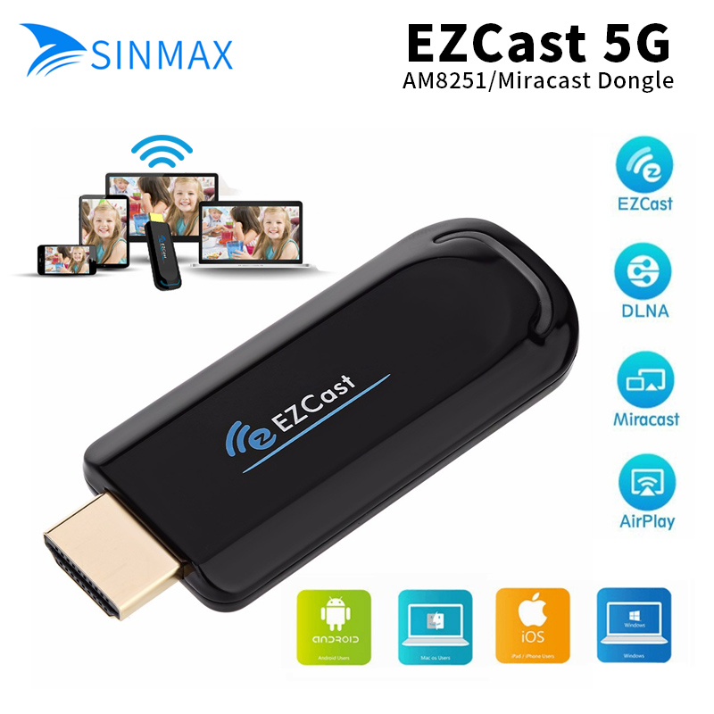 EZcast 5.8G MINI PC Android Media Player TV Stick Push Chrome cast Wifi Display Receiver Dongle Chrome Anycast Dl na Air play