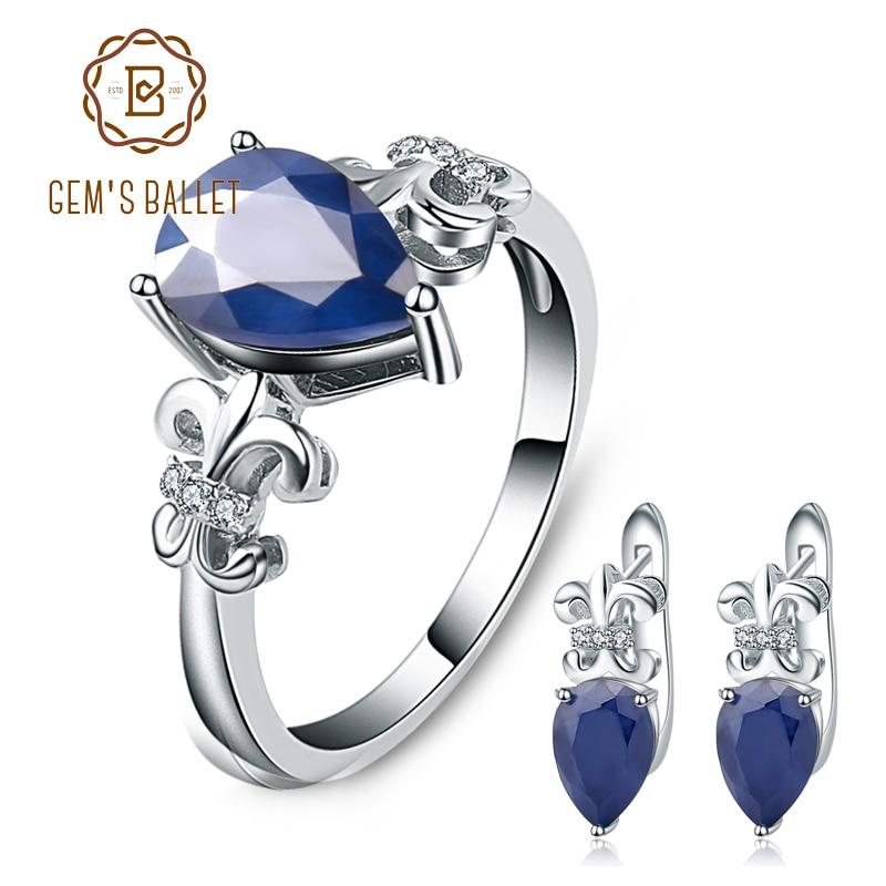 GEM S BALLET Hot Natural Blue Sapphire Gemstone Rings Clip Earrings Genuine 925 Sterling Silver Fine