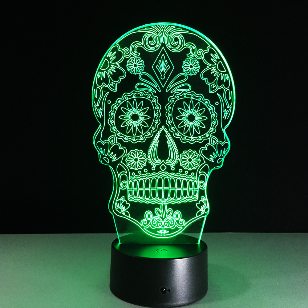 Skull Face 3D Night Light Touch Switch 7 Color Changing LED Table Lamp 5V USB Night Light Home Bar Art Decoration Mood Lighting