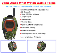 2pcs/lot Camouflage Wrist Watch Walkie Talkie 462.5625 462.7250MHz USA GMRS 22 Channels Walkie talkie watch for kid Freeshipping