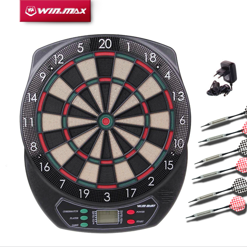 Winmax Indoor Sport Scoring board Dartboard Set LED Display 6 darts Electronic Dart Board Display 21 Games Voice+ Soft tipDarts rowsfir dart board 6 darts set funny play dartboard soft head darts board game toy fun party accessories gambling new year gift
