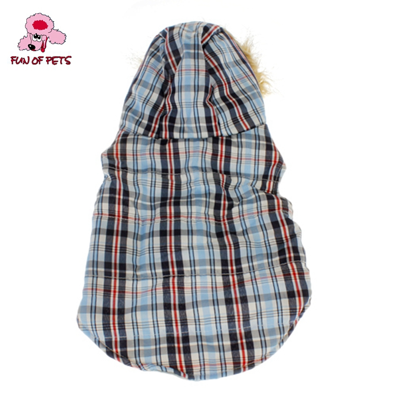 2017 Cool British Grids Pattern Cotton Padded Warm Vest with Hoodie for Pets Dogs Winter Dog Clothes