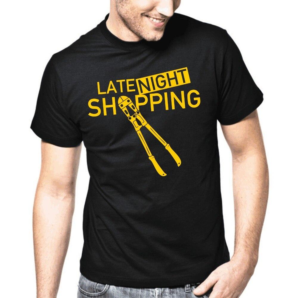2018 men t shirt fashion Cool Mens Short Sleeve O-Neck T-Shirts Late Night Shopping Bolzenschneider Fun Funny Party band