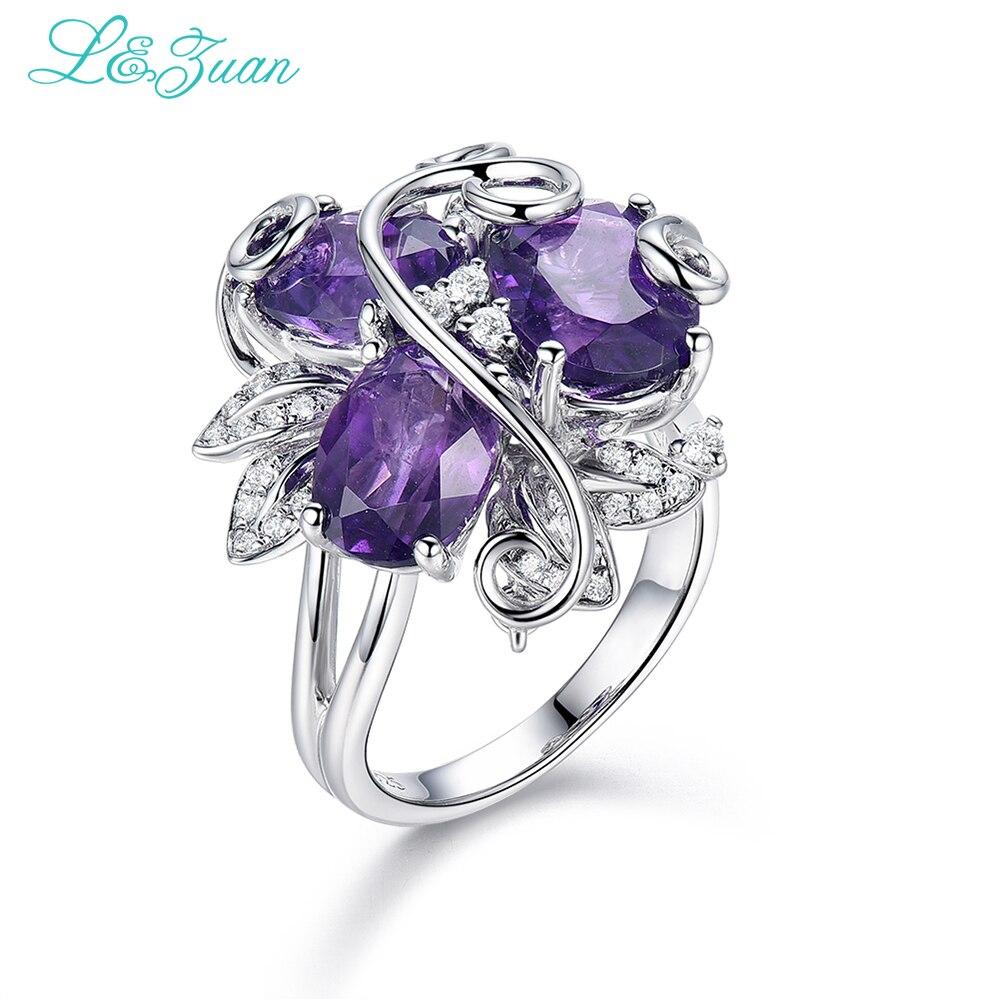 I & Zuan Bloem Ring 925 Sterling zilver sieraden Natuurlijke Amethist Paars Stone Ring Voor Vrouwen Fijne Sieraden Party Accessoire 4858-in Ringen van Sieraden & accessoires op  Groep 1