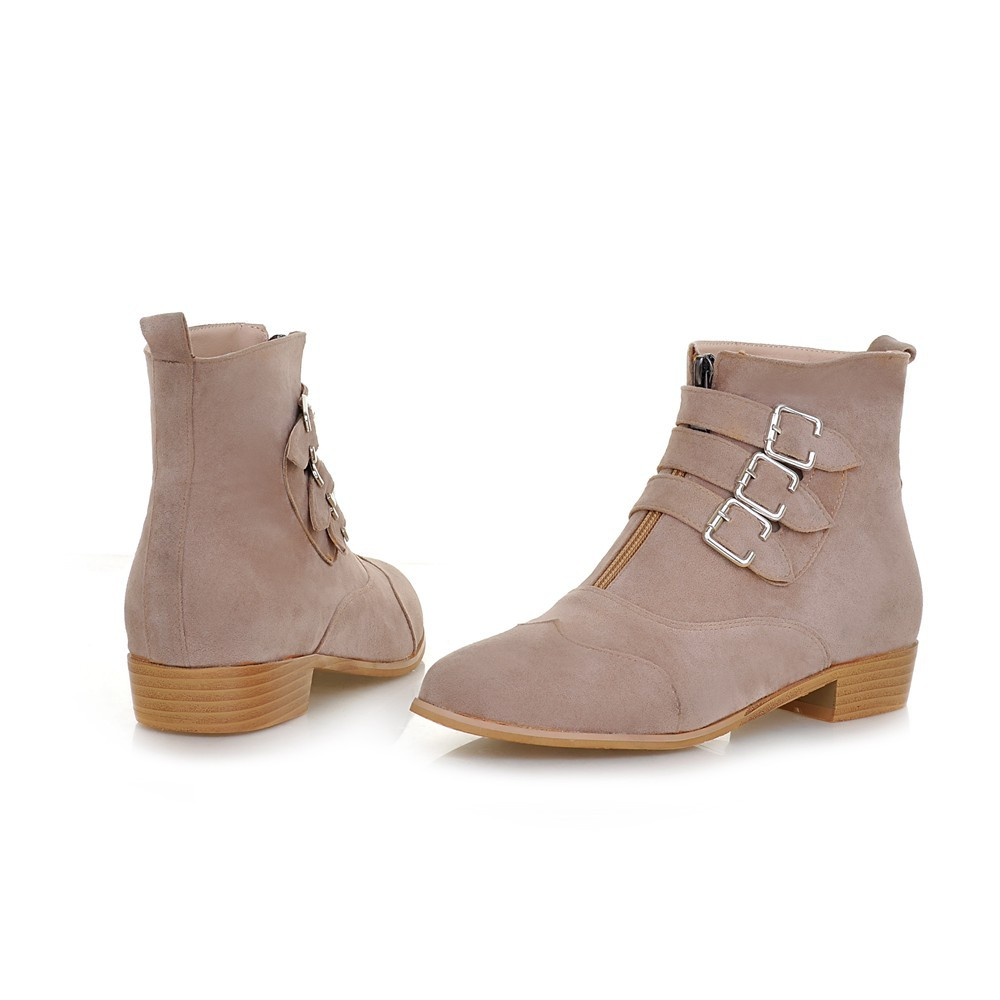 2015 buckle big size nubuck ankle boots