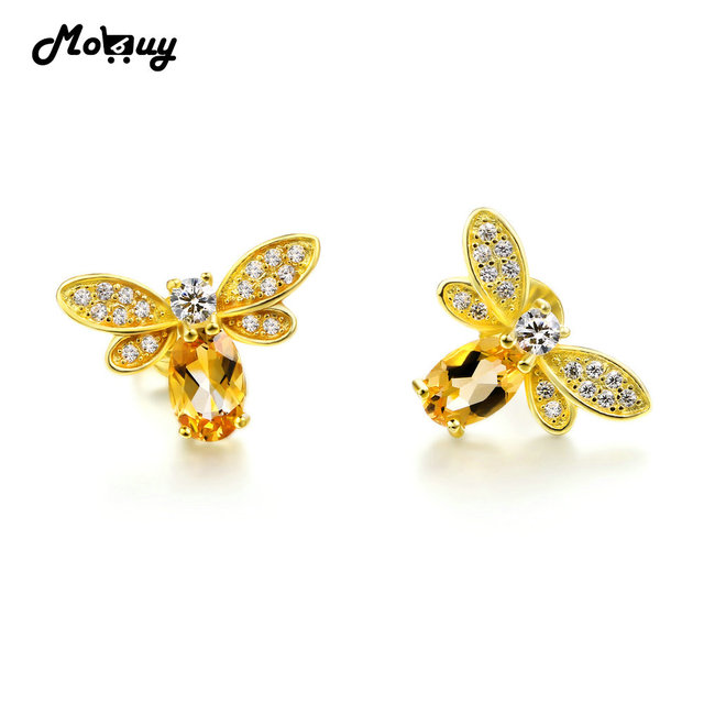 Mo Mbei041 Natural Citrine Lovely Bee Stud Earrings 925 Sterling Silver Jewelry 14k Yellow Gold Plated