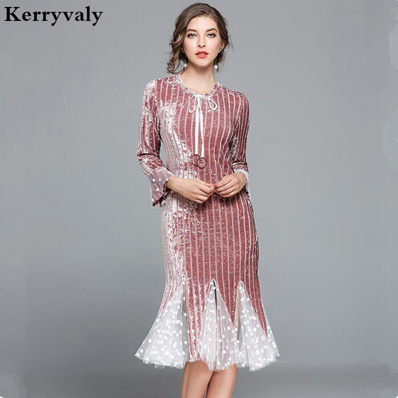 Winter Pink Fishtail Knitted Velvet Dress Womens Dresses New Arrival 2018 Vestido Branco Long Sleeve Bodycon Dress K6145