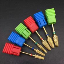 6 Type of corn-shaped carbide nail drill electric manicure bit machine milling cutter rotating golden nail nail accessories