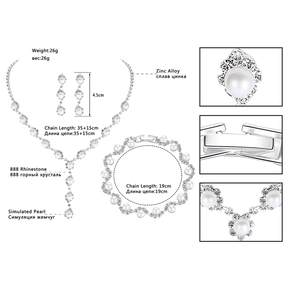 Minlover Floral Simulated Pearl Bride Wedding Jewelry Sets Simple Crystal Necklace Earrings Bracelets Sets for Women TL059+SL077 3