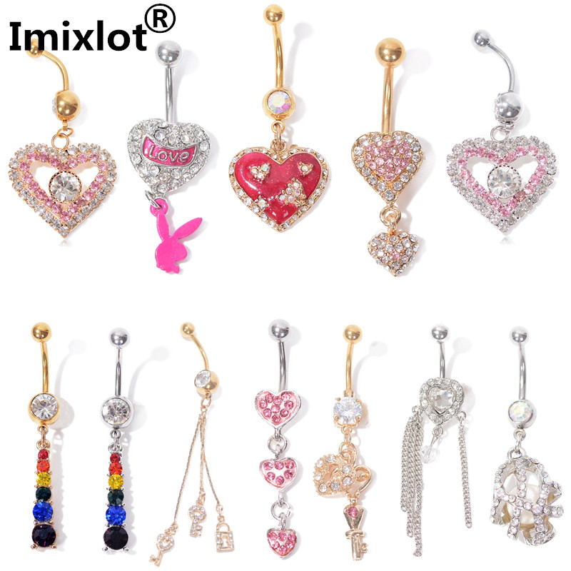 1 PC Sexy Rhinestone Heart Belly Button Rings Surgical Steel Chain Dangling  Navel Rings Piercing Body Jewelry on Aliexpress.com  11a62884a4b3