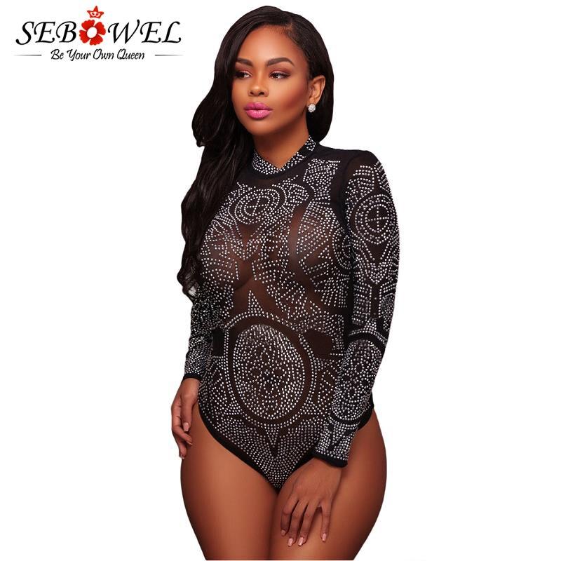 Sebowel Black Mesh Rhinestone Bodysuit Women Sexy See -4368