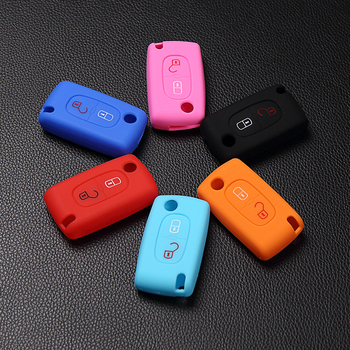 High quality Silicone Case Key for Peugeot 208 207 3008 308 RCZ 508 408 2008 407 307 206 / For Citroen C2 C3 C4 C5 2 Buttons image