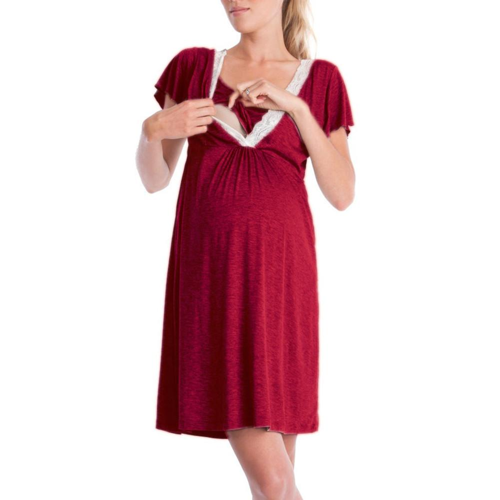 Fashionable Cotton Lace Nursing Dress for Pregnancy Woman Piecing Multi-Functional Breastfeeding Dress For Women