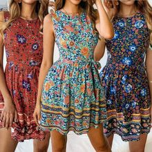 Women Holiday Boho Swing Mini Sundress A-line Floral Print Sleeveless Dress